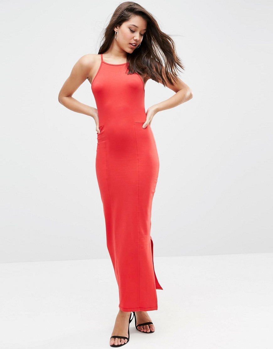 Maxi Dress With 90s High Neck Red - sleeve style: spaghetti straps; fit: tight; pattern: plain; style: maxi dress; length: ankle length; predominant colour: true red; occasions: evening; neckline: scoop; fibres: cotton - stretch; sleeve length: sleeveless; texture group: jersey - clingy; pattern type: fabric; season: s/s 2016; wardrobe: event