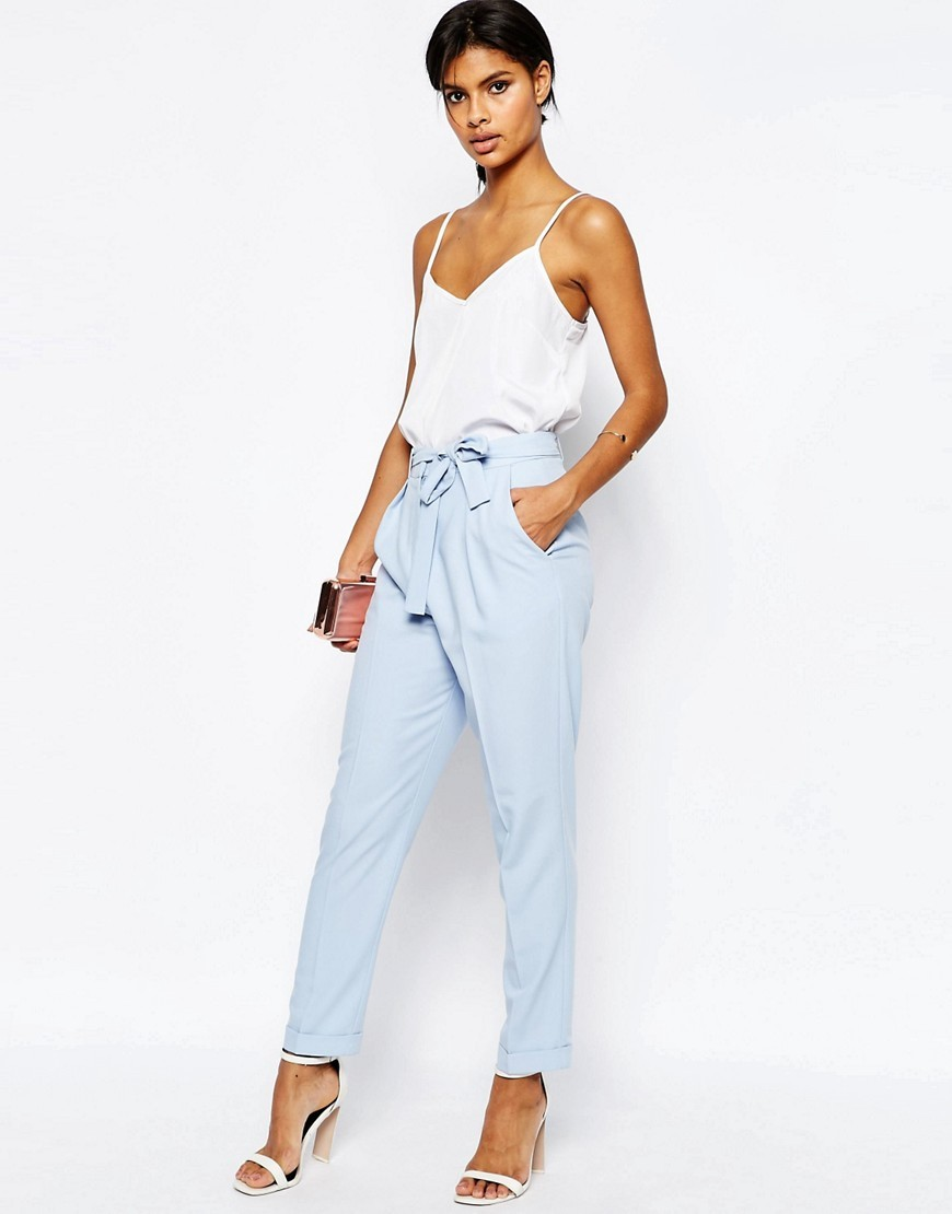 Woven Peg Trousers With Obi Tie Blue - pattern: plain; style: peg leg; waist: high rise; waist detail: belted waist/tie at waist/drawstring; predominant colour: pale blue; length: ankle length; fibres: polyester/polyamide - 100%; texture group: crepes; fit: tapered; pattern type: fabric; occasions: creative work; season: s/s 2016; wardrobe: highlight
