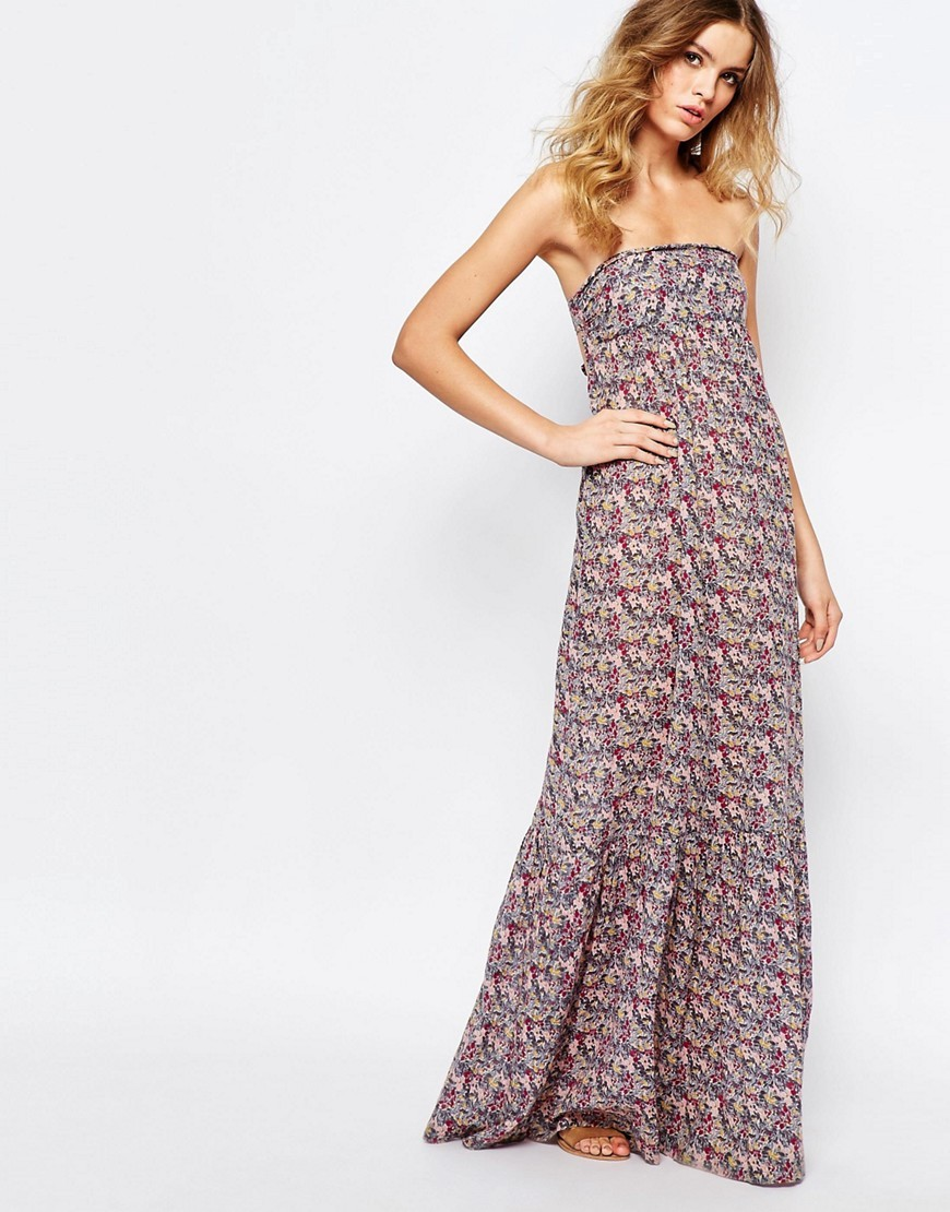 Emelle Maxi Dress With Open Back Rose P - neckline: strapless (straight/sweetheart); fit: loose; style: maxi dress; sleeve style: strapless; predominant colour: lilac; secondary colour: pale blue; length: floor length; fibres: cotton - 100%; sleeve length: sleeveless; texture group: cotton feel fabrics; occasions: holiday; pattern type: fabric; pattern size: big & busy; pattern: patterned/print; season: s/s 2016; wardrobe: holiday
