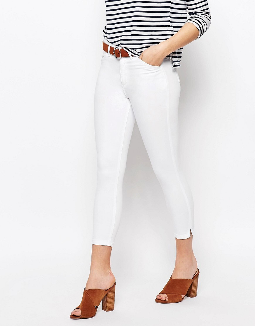 High Waist Crop Jean White - style: skinny leg; pattern: plain; pocket detail: traditional 5 pocket; waist: mid/regular rise; predominant colour: white; occasions: casual, creative work; length: calf length; fibres: cotton - stretch; texture group: denim; pattern type: fabric; season: s/s 2016; wardrobe: highlight