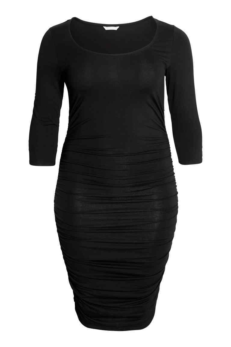 + Jersey Dress - neckline: round neck; fit: tight; pattern: plain; style: bodycon; predominant colour: black; occasions: evening; length: just above the knee; fibres: viscose/rayon - stretch; sleeve length: 3/4 length; sleeve style: standard; texture group: jersey - clingy; pattern type: fabric; season: s/s 2016; wardrobe: event