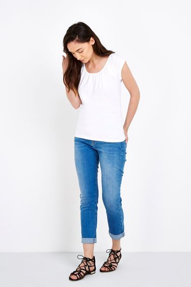 White Cotton Scoop Neck Top - sleeve style: capped; pattern: plain; style: t-shirt; predominant colour: white; occasions: casual, creative work; length: standard; neckline: scoop; fibres: cotton - stretch; fit: body skimming; sleeve length: sleeveless; pattern type: fabric; texture group: jersey - stretchy/drapey; season: s/s 2016; wardrobe: basic