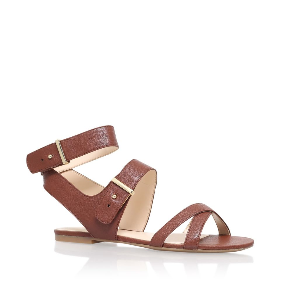 Darcelle Flat Sandals, Tan - predominant colour: tan; occasions: casual, holiday; material: leather; heel height: flat; ankle detail: ankle strap; heel: standard; toe: open toe/peeptoe; style: strappy; finish: plain; pattern: plain; season: s/s 2016; wardrobe: highlight
