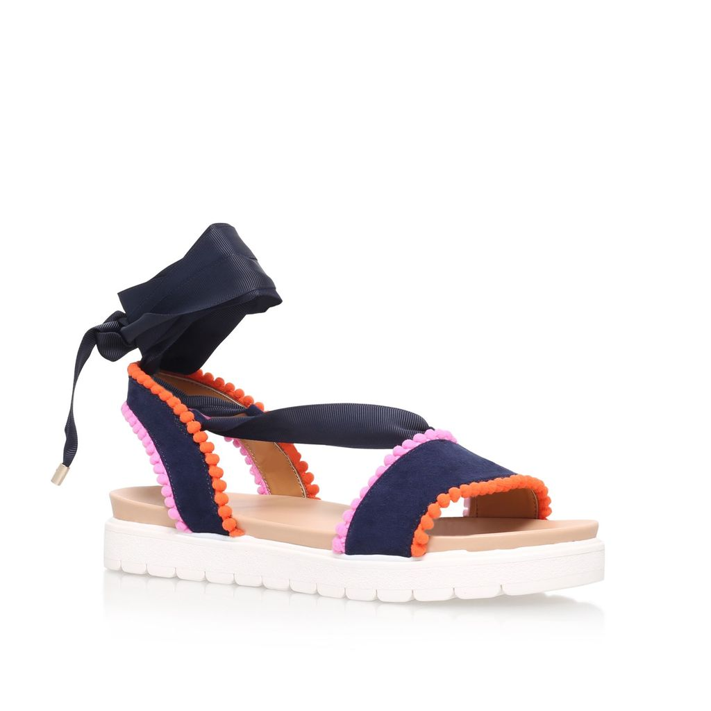 Dakota Flat Sandals, Navy - secondary colour: pink; predominant colour: navy; occasions: casual, holiday; material: fabric; heel height: flat; ankle detail: ankle tie; heel: standard; toe: open toe/peeptoe; style: standard; finish: plain; pattern: colourblock; shoe detail: platform with tread; multicoloured: multicoloured; season: s/s 2016; wardrobe: highlight