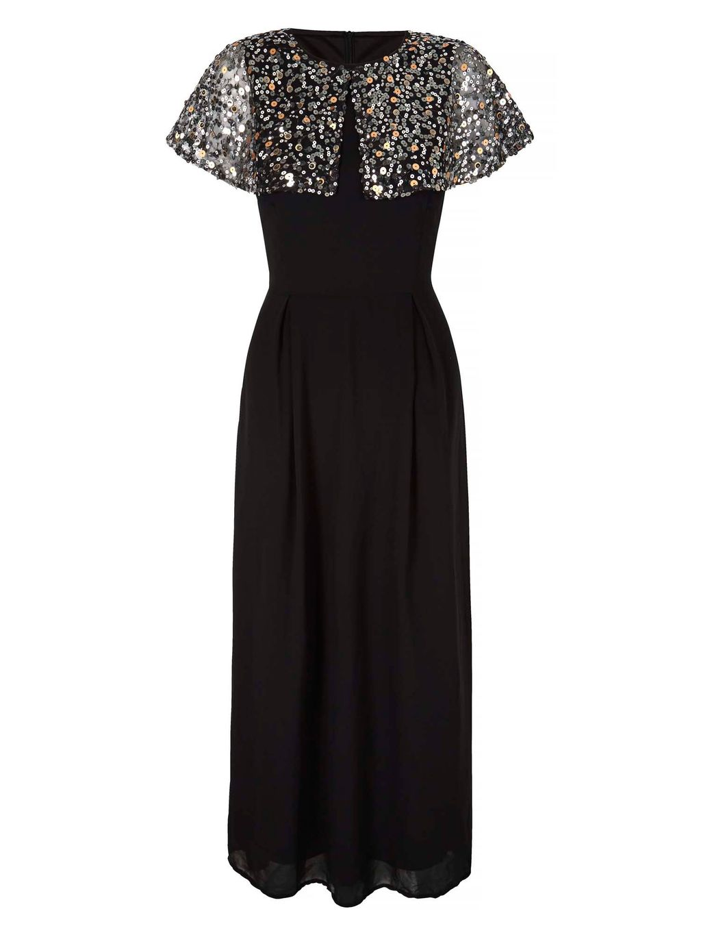 Sequin Cape Maxi Dress, Black - pattern: plain; style: maxi dress; length: ankle length; secondary colour: silver; predominant colour: black; fit: fitted at waist & bust; fibres: polyester/polyamide - 100%; occasions: occasion; sleeve style: cape sleeve; neckline: crew; sleeve length: short sleeve; texture group: sheer fabrics/chiffon/organza etc.; pattern type: fabric; embellishment: sequins; season: s/s 2016