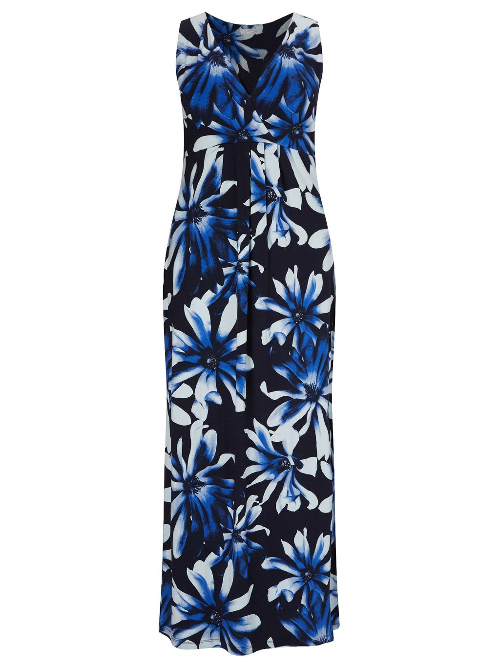 Anise Print Maxi Dress, Blue - style: tea dress; neckline: v-neck; sleeve style: sleeveless; secondary colour: white; predominant colour: navy; occasions: evening; length: floor length; fit: body skimming; fibres: viscose/rayon - stretch; sleeve length: sleeveless; pattern type: fabric; pattern: florals; texture group: jersey - stretchy/drapey; multicoloured: multicoloured; season: s/s 2016; wardrobe: event
