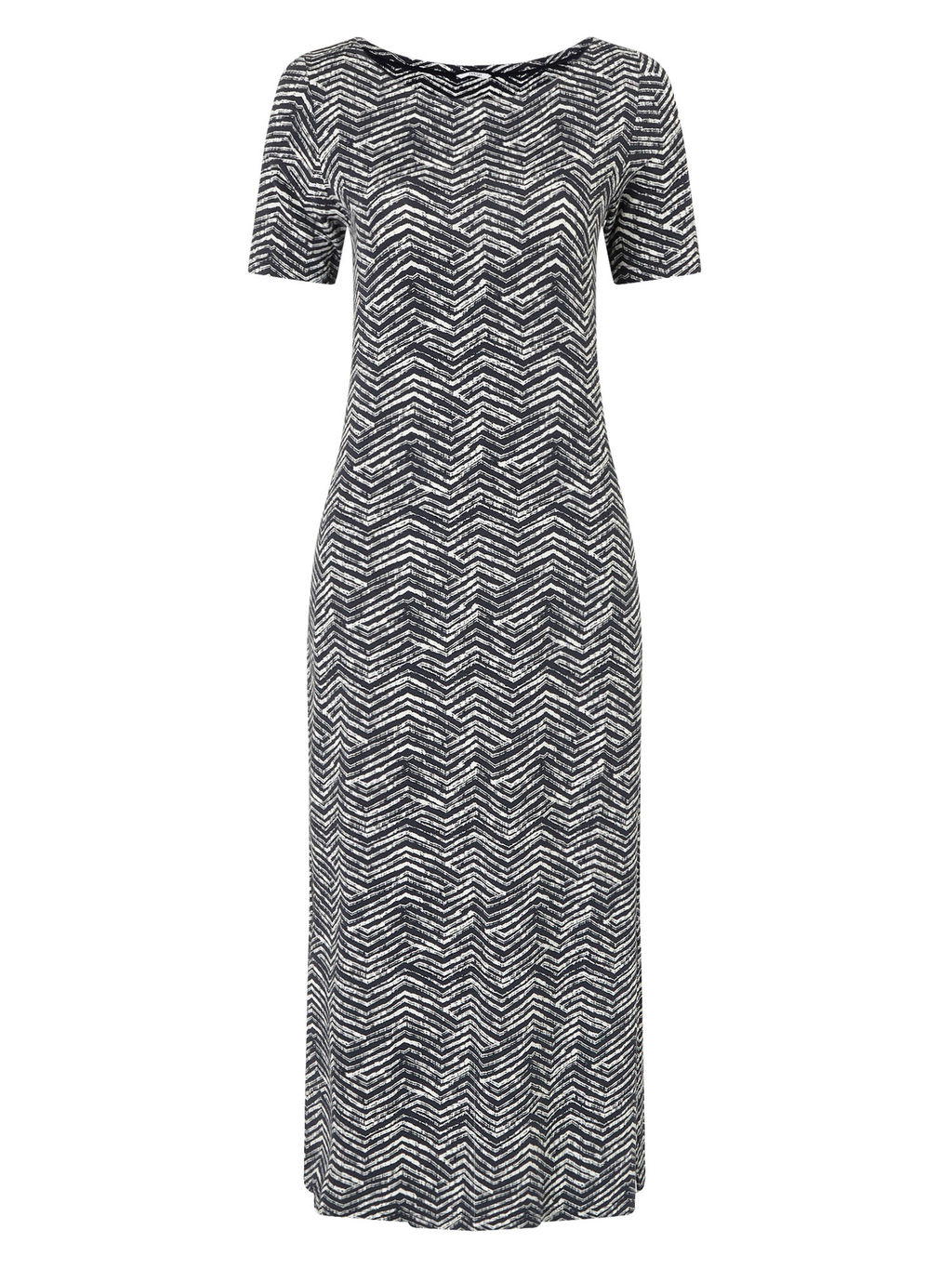 Zig Zag Print Maxi Dress - style: shift; length: calf length; secondary colour: white; predominant colour: black; fit: body skimming; fibres: viscose/rayon - stretch; neckline: crew; sleeve length: short sleeve; sleeve style: standard; pattern type: fabric; pattern: patterned/print; texture group: jersey - stretchy/drapey; occasions: creative work; season: s/s 2016; wardrobe: highlight
