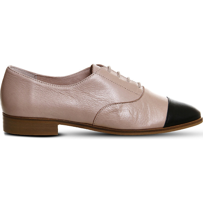 Damsel Leather Lace Up Flats, Women's, Nude Black Leather - predominant colour: stone; secondary colour: black; occasions: casual, creative work; material: leather; heel height: flat; toe: round toe; finish: plain; pattern: colourblock; style: lace ups; season: s/s 2016; wardrobe: highlight