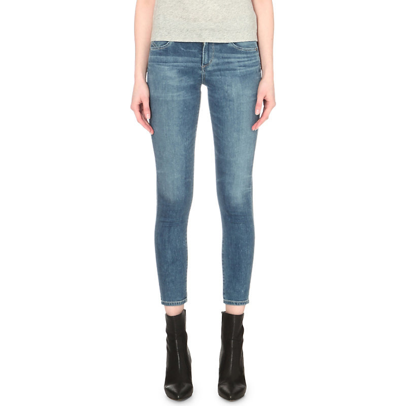 Avedon Ultra Skinny Mid Rise Jeans, Women's, Harbor - style: skinny leg; pattern: plain; pocket detail: traditional 5 pocket; waist: mid/regular rise; predominant colour: denim; occasions: casual; length: ankle length; fibres: cotton - stretch; jeans detail: whiskering, washed/faded; texture group: denim; pattern type: fabric; season: s/s 2016; wardrobe: basic