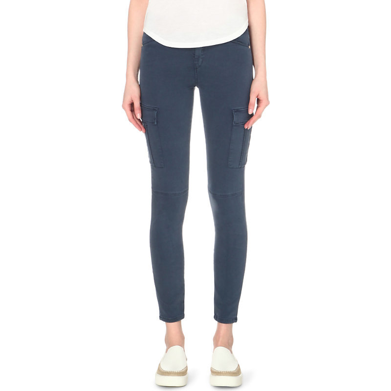 The Skinny Cargo Stretch Sateen Jeans, Women's, Blue - style: skinny leg; pattern: plain; pocket detail: pockets at the sides; waist: mid/regular rise; predominant colour: mid grey; occasions: casual; length: ankle length; fibres: cotton - stretch; texture group: denim; pattern type: fabric; season: s/s 2016; wardrobe: highlight