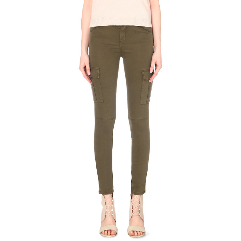 The Skinny Cargo Stretch Sateen Jeans, Women's, Army - style: skinny leg; length: standard; pattern: plain; waist: mid/regular rise; predominant colour: khaki; occasions: casual, creative work; fibres: cotton - stretch; texture group: denim; pattern type: fabric; season: s/s 2016