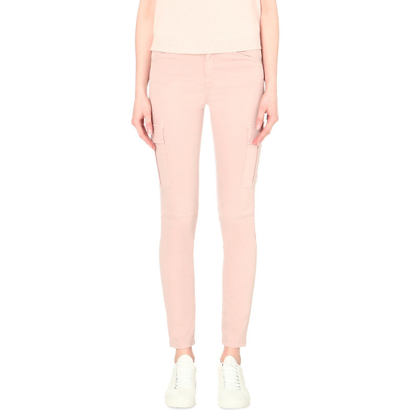 The Skinny Cargo Stretch Sateen Jeans, Women's, Pink - style: skinny leg; length: standard; pattern: plain; pocket detail: traditional 5 pocket; waist: mid/regular rise; predominant colour: blush; occasions: casual; fibres: cotton - stretch; texture group: denim; pattern type: fabric; season: s/s 2016; wardrobe: highlight