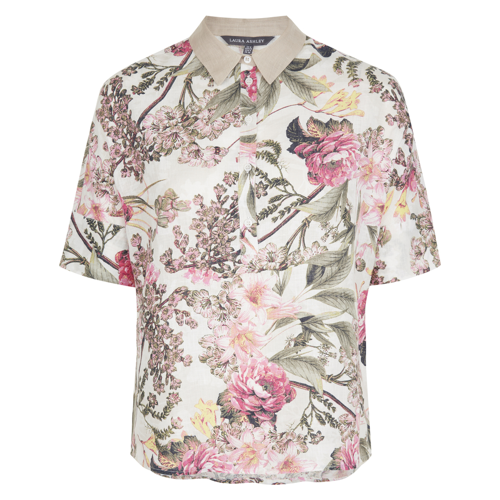 Floral Botanical Linen Collar Shirt - neckline: shirt collar/peter pan/zip with opening; style: shirt; predominant colour: ivory/cream; secondary colour: khaki; occasions: casual; length: standard; fibres: linen - 100%; fit: body skimming; sleeve length: short sleeve; sleeve style: standard; texture group: linen; pattern type: fabric; pattern: florals; multicoloured: multicoloured; season: s/s 2016; wardrobe: highlight