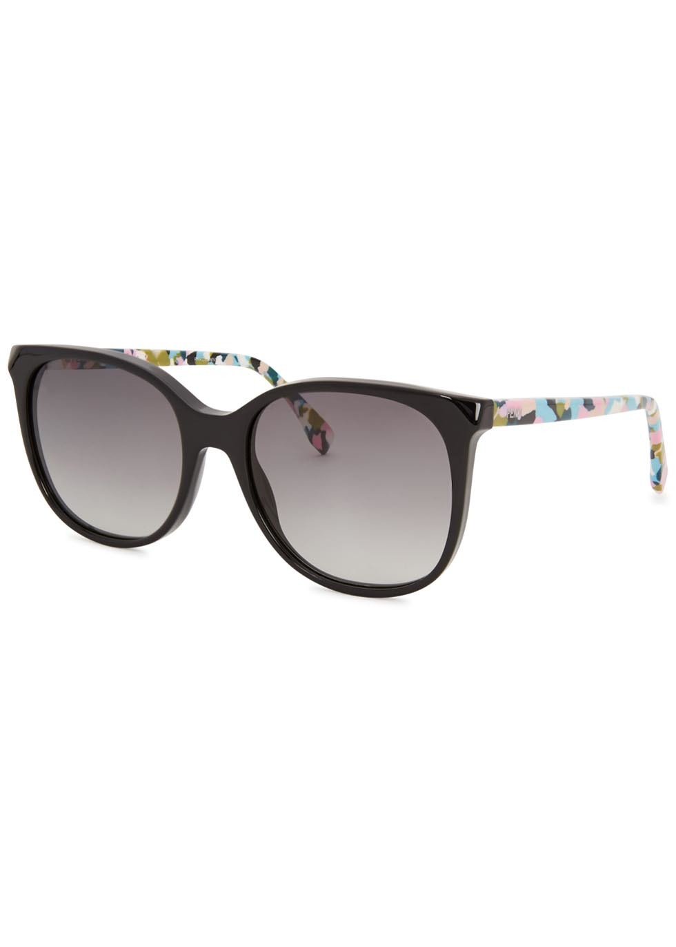 Black Wayfarer Style Sunglasses - secondary colour: blush; predominant colour: black; occasions: casual, holiday; style: square; size: standard; material: plastic/rubber; finish: plain; pattern: patterned/print; season: s/s 2016; wardrobe: highlight