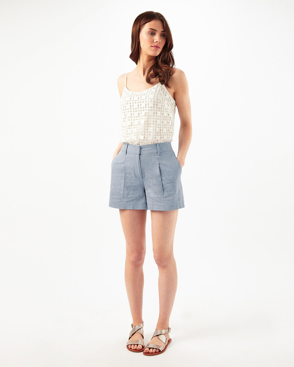 Harri Linen Short - pattern: pinstripe; waist: high rise; secondary colour: white; predominant colour: pale blue; occasions: casual, holiday; fibres: cotton - 100%; hip detail: subtle/flattering hip detail; texture group: linen; pattern type: fabric; season: s/s 2016; style: shorts; length: short shorts; fit: slim leg; wardrobe: holiday
