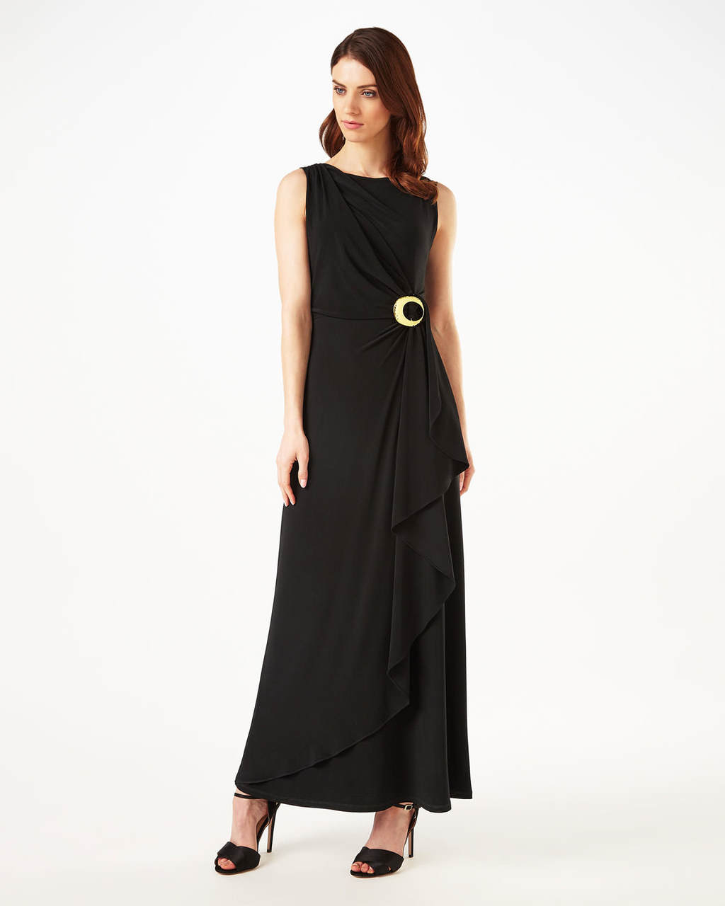 Kamini Maxi Dress - pattern: plain; sleeve style: sleeveless; style: maxi dress; length: ankle length; waist detail: belted waist/tie at waist/drawstring; predominant colour: black; occasions: evening; fit: body skimming; fibres: polyester/polyamide - stretch; neckline: crew; sleeve length: sleeveless; pattern type: fabric; texture group: jersey - stretchy/drapey; season: s/s 2016; wardrobe: event