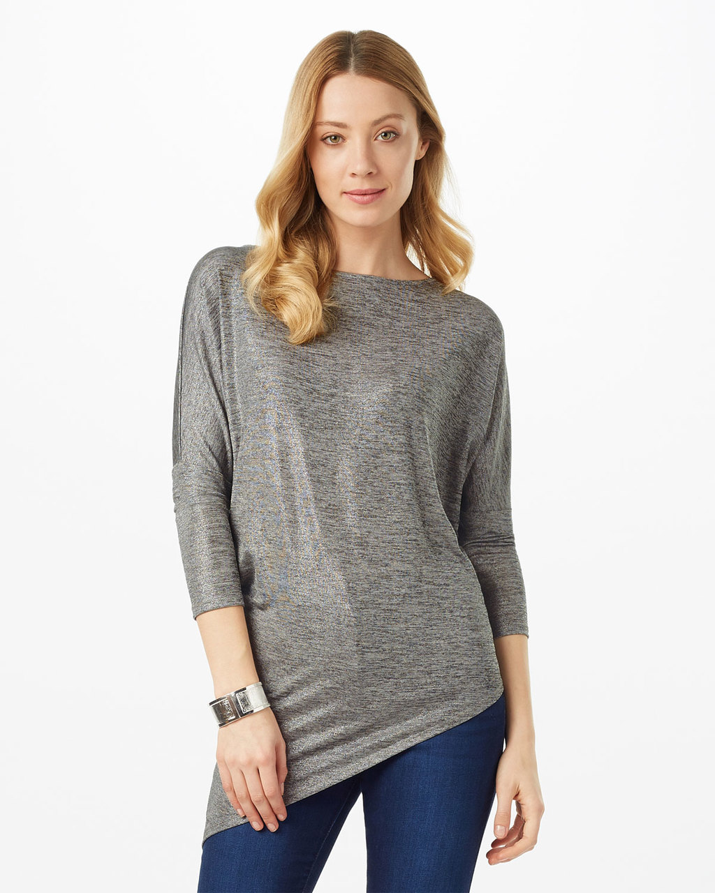 Zoey Lurex Top - pattern: plain; length: below the bottom; predominant colour: light grey; occasions: casual; style: top; fibres: polyester/polyamide - mix; fit: body skimming; neckline: crew; sleeve length: 3/4 length; sleeve style: standard; pattern type: fabric; texture group: jersey - stretchy/drapey; season: s/s 2016; wardrobe: basic