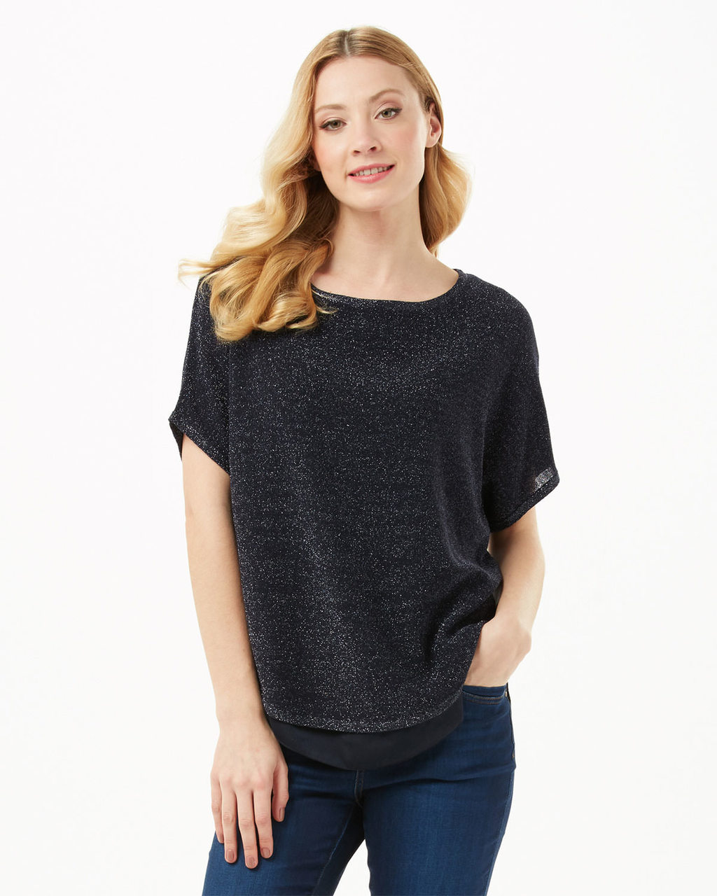 Tape Yarn Macey Jumper - pattern: plain; style: standard; predominant colour: charcoal; occasions: casual; length: standard; fibres: cotton - mix; fit: loose; neckline: crew; sleeve length: short sleeve; sleeve style: standard; texture group: knits/crochet; pattern type: fabric; season: s/s 2016