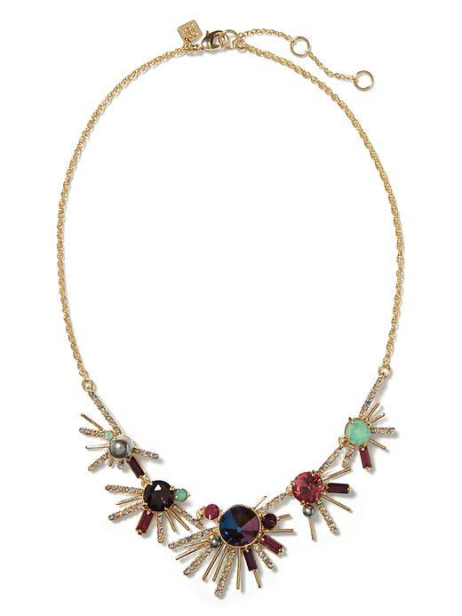 Firework Burst Necklace Brass - predominant colour: gold; occasions: evening, occasion; length: mid; size: large/oversized; material: chain/metal; finish: metallic; embellishment: jewels/stone; style: bib/statement; season: s/s 2016; wardrobe: event