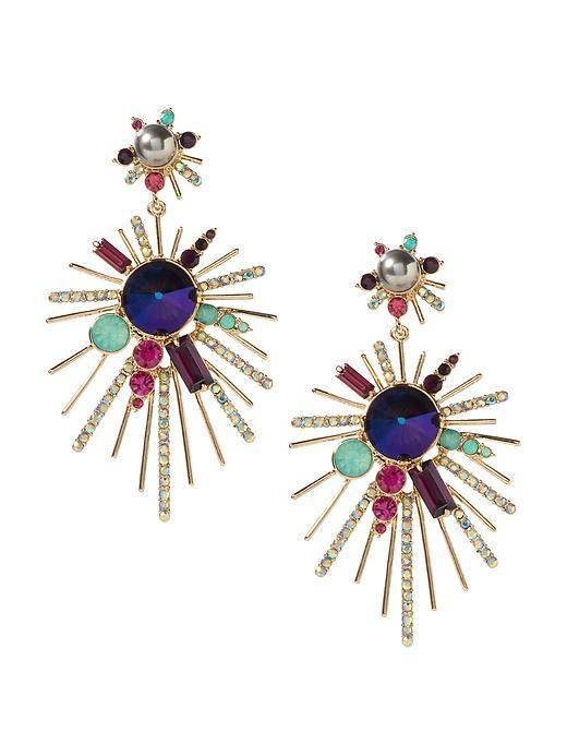 Fireworks Burst Earring Multi - secondary colour: navy; predominant colour: gold; occasions: evening, occasion; style: drop; length: long; size: large/oversized; material: chain/metal; fastening: pierced; finish: metallic; embellishment: jewels/stone; season: s/s 2016