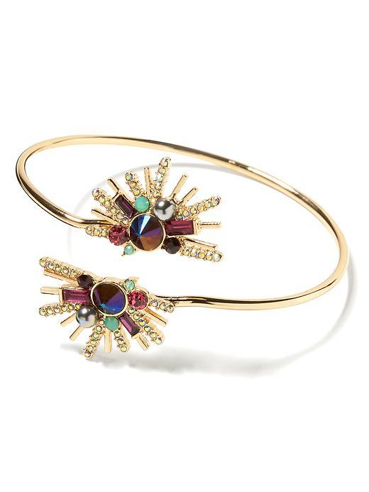 Fireworks Bracelet Gold - secondary colour: emerald green; predominant colour: gold; occasions: evening, occasion; style: cuff; size: standard; material: chain/metal; finish: metallic; embellishment: jewels/stone; season: s/s 2016; wardrobe: event