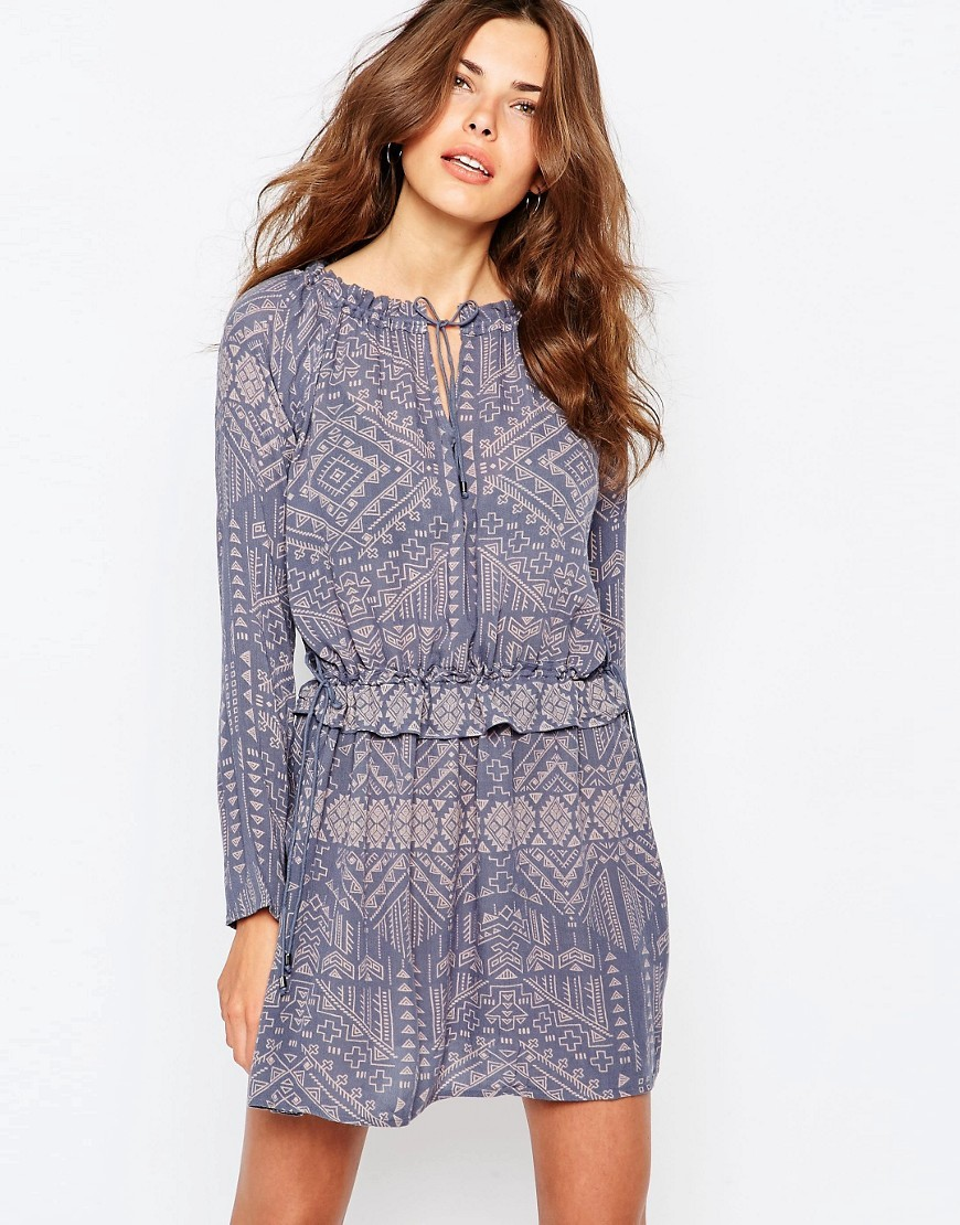 Printed Tie Neck Dress Multi - style: shift; length: mid thigh; neckline: round neck; predominant colour: navy; secondary colour: light grey; occasions: casual; fit: body skimming; fibres: viscose/rayon - 100%; sleeve length: long sleeve; sleeve style: standard; pattern type: fabric; pattern: patterned/print; texture group: other - light to midweight; season: s/s 2016; wardrobe: highlight