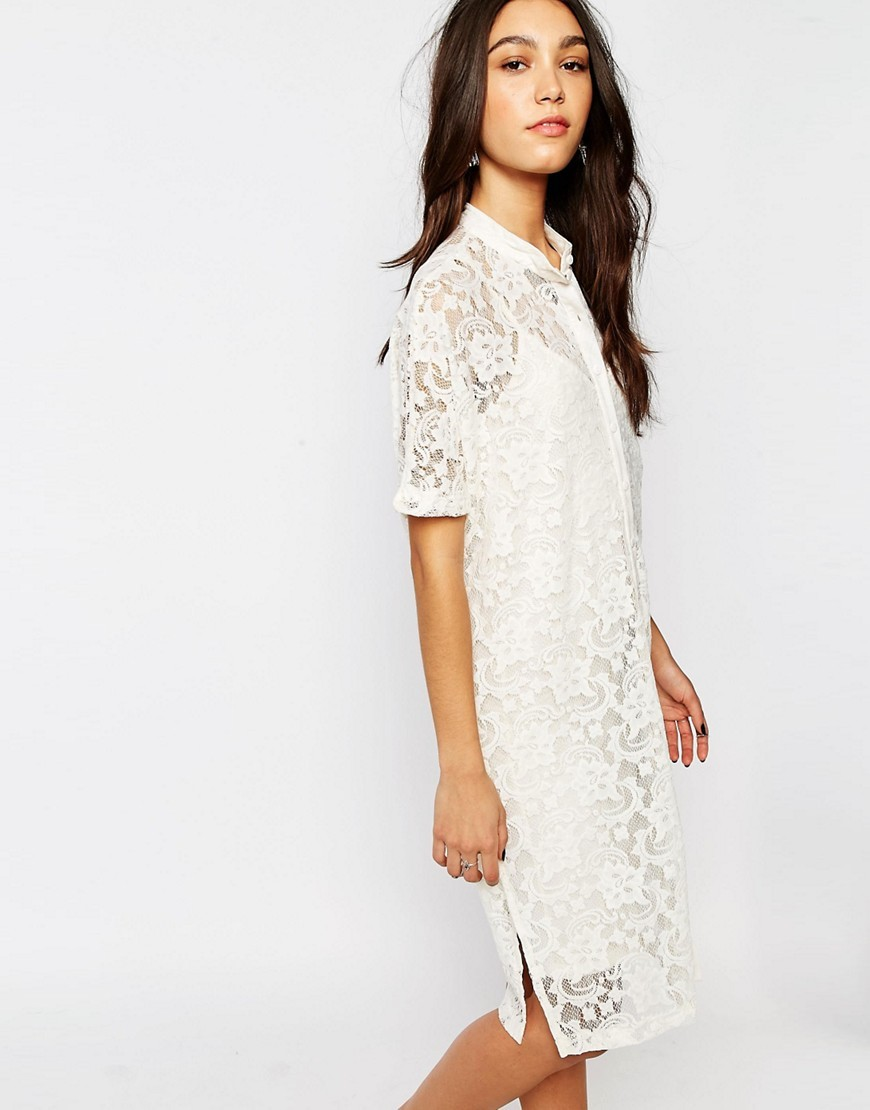 Lace Shirt Dress White - style: shirt; neckline: shirt collar/peter pan/zip with opening; bust detail: sheer at bust; predominant colour: white; occasions: evening; length: on the knee; fit: body skimming; fibres: polyester/polyamide - stretch; sleeve length: half sleeve; sleeve style: standard; texture group: lace; pattern type: fabric; pattern: patterned/print; season: s/s 2016; wardrobe: event