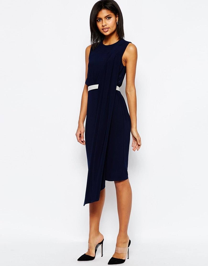 Fold Sash Front Shift Midi Dress With Belt Navy - length: below the knee; fit: fitted at waist; pattern: plain; sleeve style: sleeveless; waist detail: belted waist/tie at waist/drawstring; predominant colour: navy; style: asymmetric (hem); fibres: polyester/polyamide - stretch; occasions: occasion; neckline: crew; sleeve length: sleeveless; pattern type: fabric; texture group: jersey - stretchy/drapey; season: s/s 2016; wardrobe: event