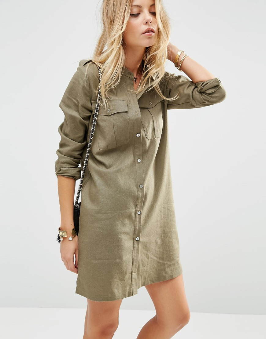 Linen Military Shirt Dress Khaki - style: shirt; length: mid thigh; pattern: plain; predominant colour: khaki; occasions: casual, creative work; fit: body skimming; neckline: collarstand; fibres: linen - mix; shoulder detail: subtle shoulder detail; sleeve length: long sleeve; sleeve style: standard; texture group: linen; bust detail: bulky details at bust; pattern type: fabric; season: s/s 2016; wardrobe: highlight