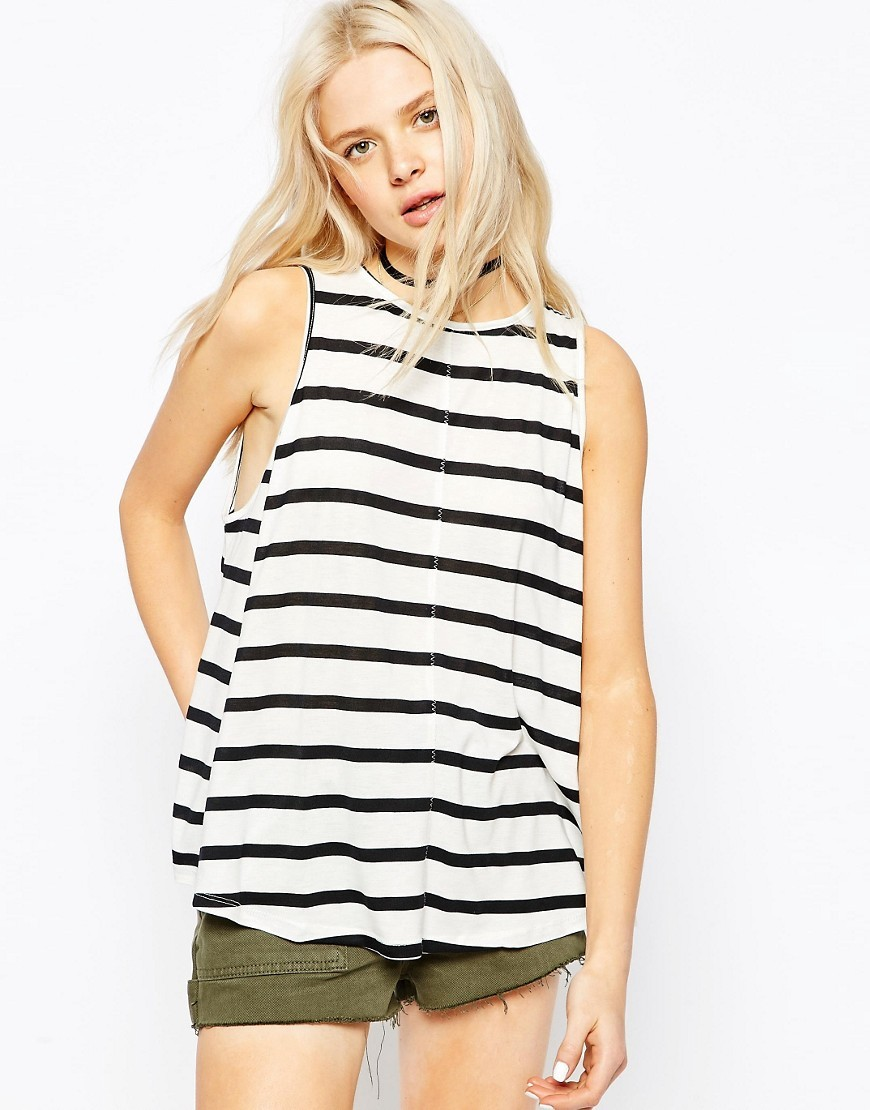 Swing Vest In Stripe Black/Cream - neckline: round neck; pattern: horizontal stripes; sleeve style: sleeveless; length: below the bottom; style: vest top; secondary colour: ivory/cream; predominant colour: black; occasions: casual, holiday; fibres: polyester/polyamide - stretch; fit: loose; sleeve length: half sleeve; pattern type: fabric; texture group: jersey - stretchy/drapey; pattern size: big & busy (top); season: s/s 2016; wardrobe: basic