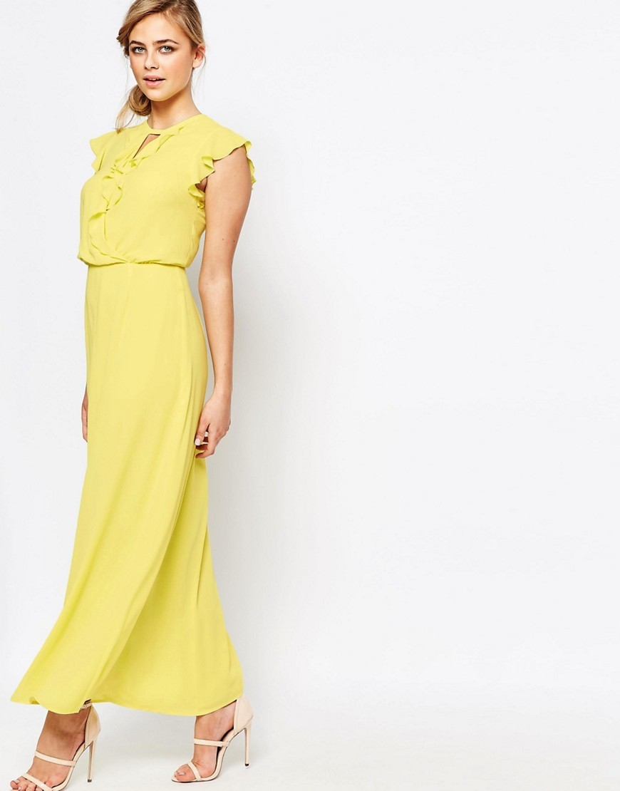 Ruffle Front Maxi Dress Lemon - sleeve style: capped; pattern: plain; style: maxi dress; length: ankle length; predominant colour: yellow; occasions: evening; fit: body skimming; neckline: peep hole neckline; fibres: polyester/polyamide - 100%; sleeve length: short sleeve; pattern type: fabric; texture group: jersey - stretchy/drapey; season: s/s 2016