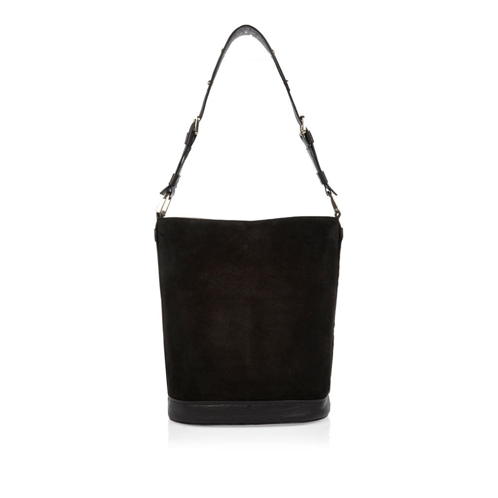 Womens Black Suede Bucket Handbag - predominant colour: black; occasions: casual, creative work; type of pattern: standard; style: tote; length: shoulder (tucks under arm); size: standard; material: faux fur; pattern: plain; finish: plain; season: s/s 2016; wardrobe: highlight