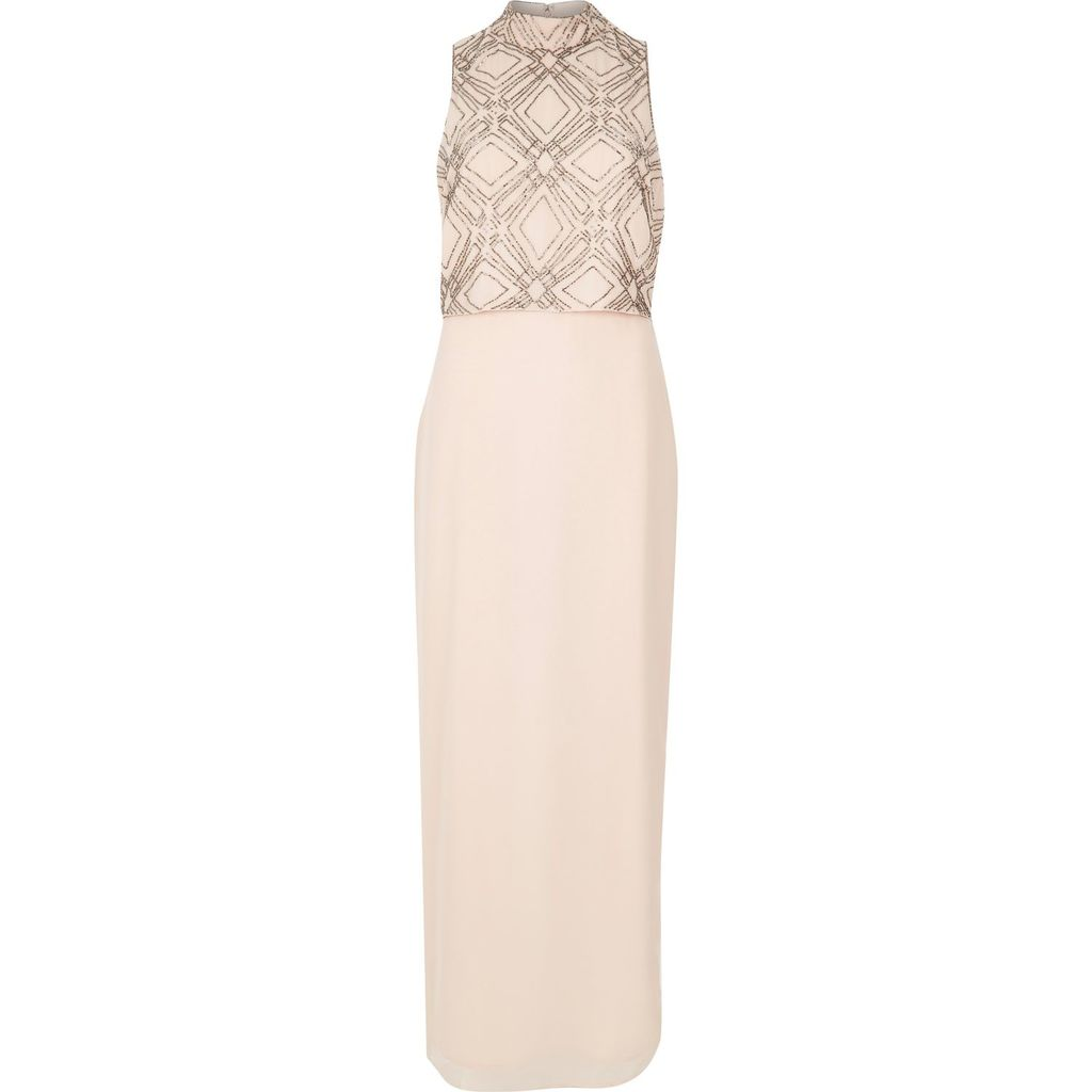 Womens Nude Embroidered High Neck Maxi Dress - sleeve style: sleeveless; style: maxi dress; neckline: high neck; predominant colour: blush; occasions: evening; length: floor length; fit: body skimming; fibres: polyester/polyamide - 100%; sleeve length: sleeveless; texture group: sheer fabrics/chiffon/organza etc.; pattern type: fabric; pattern: patterned/print; embellishment: embroidered; season: s/s 2016; wardrobe: event