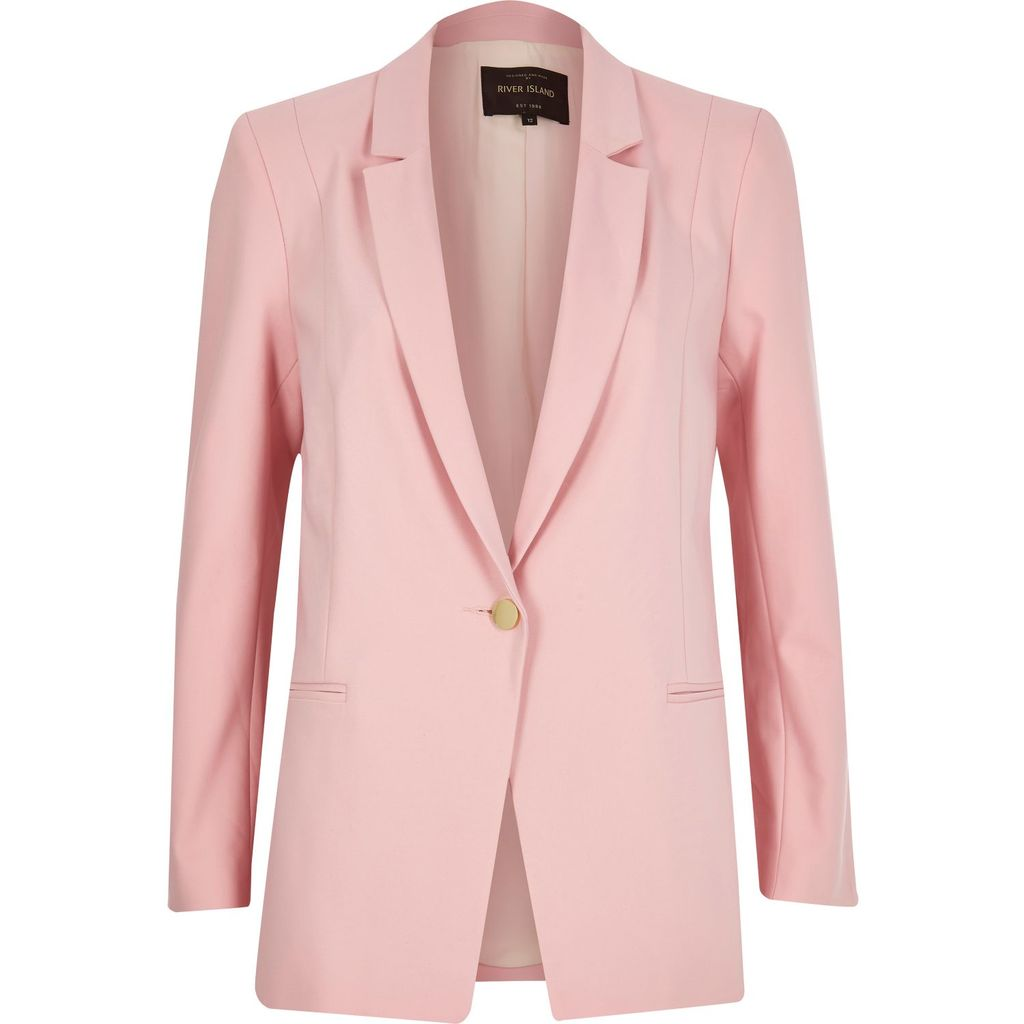 Womens Pink Fitted Blazer - pattern: plain; style: single breasted blazer; length: below the bottom; collar: standard lapel/rever collar; predominant colour: pink; occasions: casual, creative work; fit: tailored/fitted; fibres: polyester/polyamide - stretch; sleeve length: long sleeve; sleeve style: standard; collar break: medium; pattern type: fabric; texture group: woven light midweight; season: s/s 2016; wardrobe: highlight