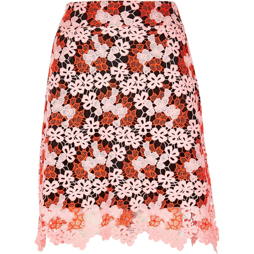 Womens Orange Lace A Line Skirt - pattern: plain; fit: loose/voluminous; waist: high rise; predominant colour: bright orange; secondary colour: bright orange; occasions: evening, creative work; length: just above the knee; style: a-line; fibres: polyester/polyamide - 100%; texture group: lace; pattern type: fabric; embellishment: lace; season: s/s 2016; trends: new romantics; wardrobe: highlight