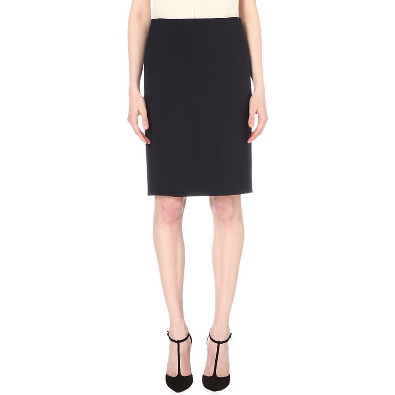 Stretch Wool Pencil Skirt, Women's, Deep Navy - pattern: plain; style: pencil; fit: tailored/fitted; waist: mid/regular rise; predominant colour: black; occasions: evening; length: on the knee; fibres: wool - stretch; pattern type: fabric; texture group: other - light to midweight; season: s/s 2016