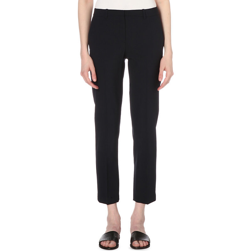 Testra Tapered Wool Blend Trousers, Women's, Deep Navy - pattern: plain; waist: low rise; predominant colour: navy; length: ankle length; fibres: wool - mix; fit: slim leg; pattern type: fabric; texture group: other - light to midweight; style: standard; occasions: creative work; season: s/s 2016; wardrobe: basic