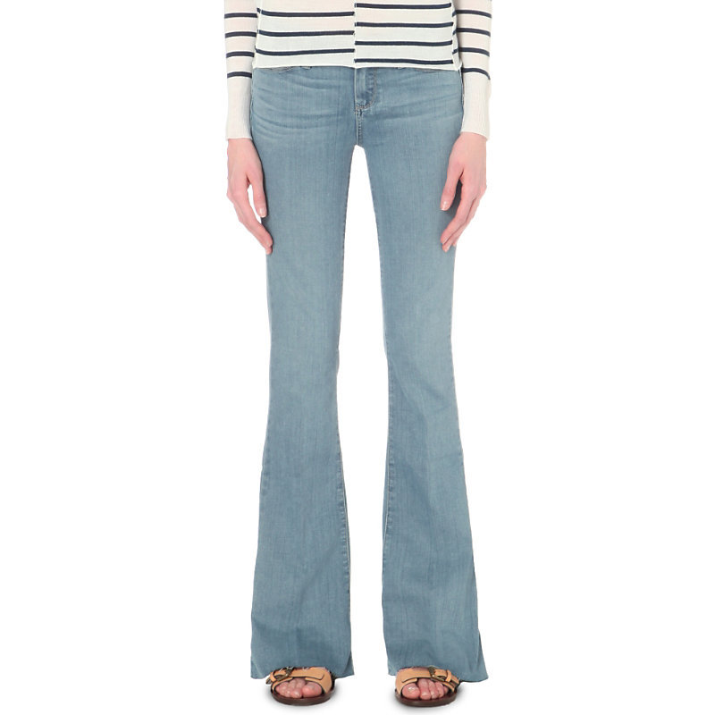 Lulu Flared Mid Rise Jeans, Women's, Jadya - style: flares; length: standard; pattern: plain; pocket detail: traditional 5 pocket; waist: mid/regular rise; predominant colour: denim; occasions: casual; fibres: cotton - stretch; texture group: denim; pattern type: fabric; season: s/s 2016