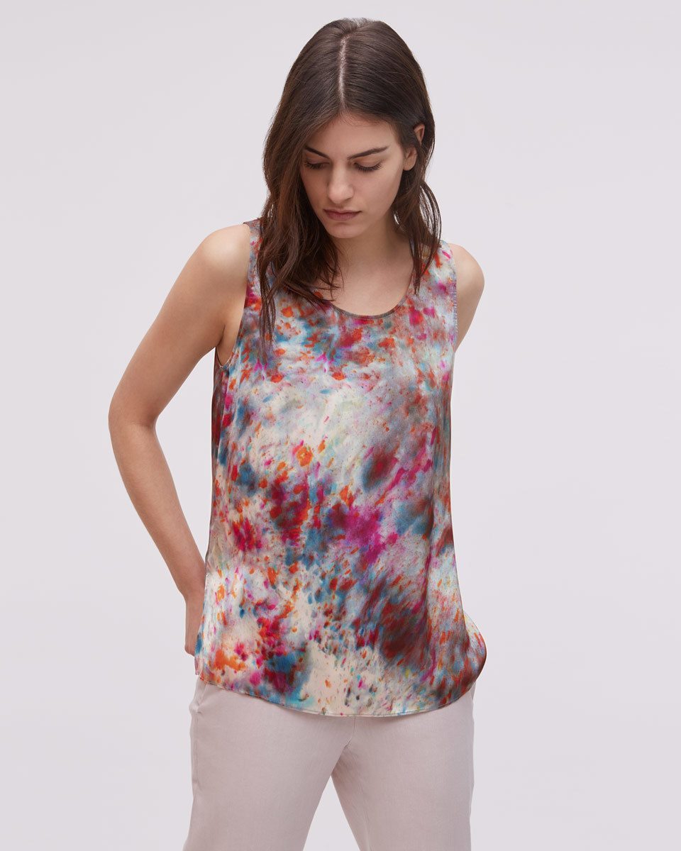 Rainburst Silk Vest Top - neckline: round neck; sleeve style: spaghetti straps; style: vest top; predominant colour: pink; secondary colour: hot pink; occasions: casual; length: standard; fibres: silk - 100%; fit: body skimming; sleeve length: sleeveless; pattern type: fabric; pattern: patterned/print; texture group: other - light to midweight; pattern size: big & busy (top); multicoloured: multicoloured; season: s/s 2016; wardrobe: highlight