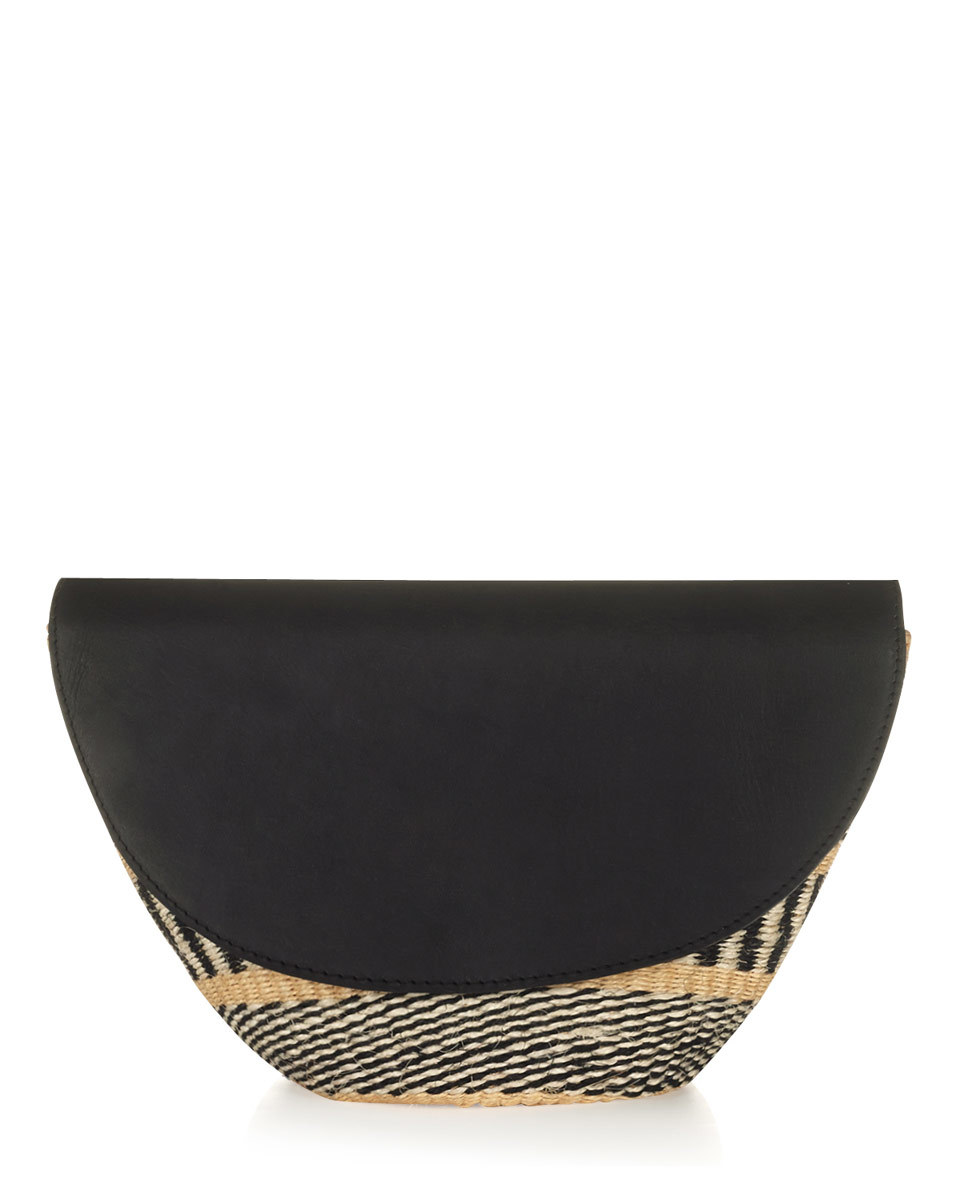 The Basket Room Woven Clutch - secondary colour: ivory/cream; predominant colour: black; occasions: evening; type of pattern: light; style: clutch; length: hand carry; size: small; material: leather; finish: plain; pattern: patterned/print; season: s/s 2016; wardrobe: event