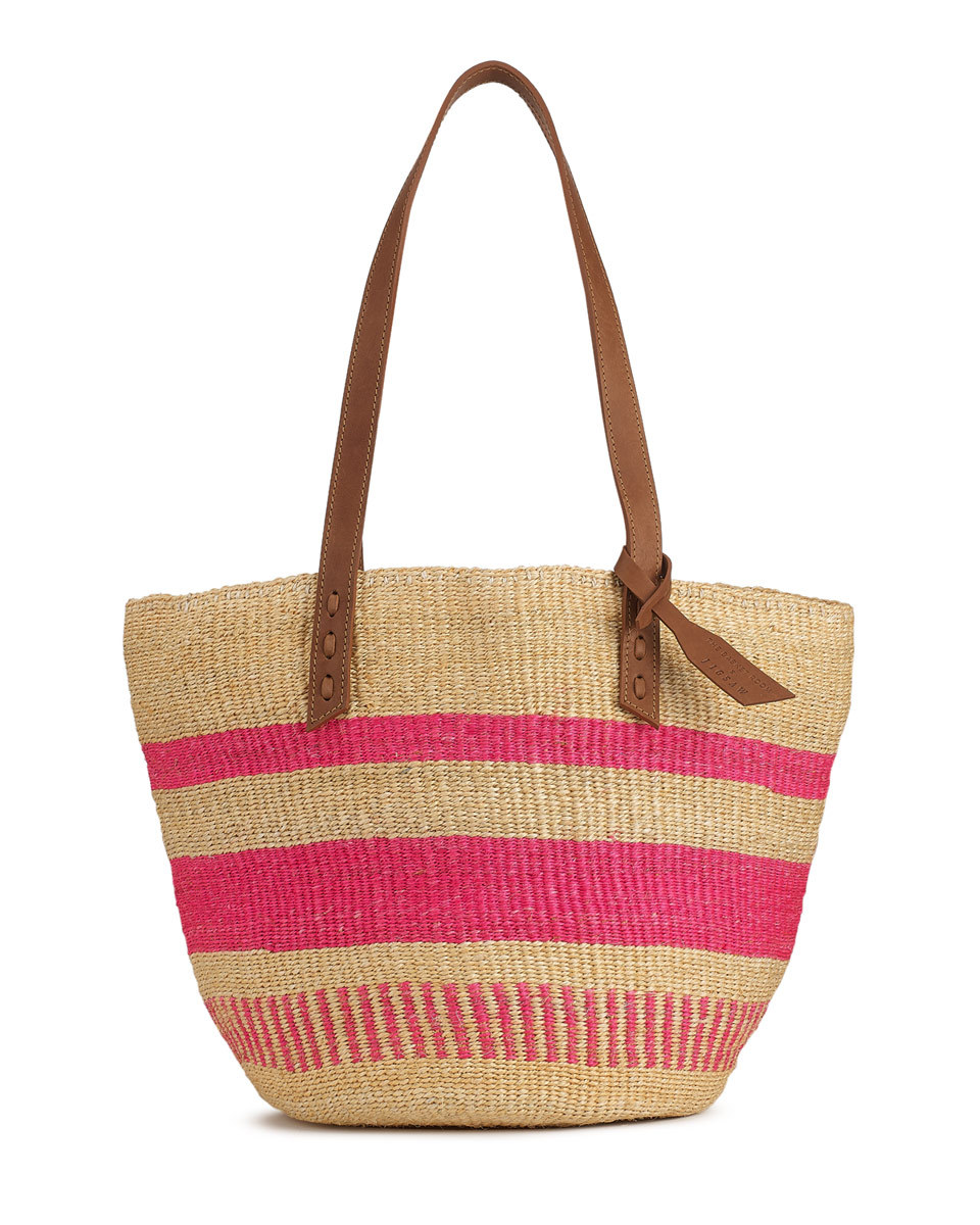 The Basket Room Woven Tote Bag - predominant colour: hot pink; secondary colour: camel; occasions: casual, holiday; type of pattern: standard; style: tote; length: handle; size: oversized; material: macrame/raffia/straw; pattern: striped; finish: plain; season: s/s 2016; wardrobe: highlight