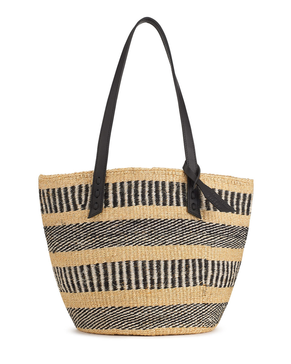 The Basket Room Woven Tote Bag - secondary colour: camel; predominant colour: black; occasions: casual, holiday; type of pattern: standard; style: tote; length: handle; size: oversized; material: macrame/raffia/straw; finish: plain; pattern: horizontal stripes; season: s/s 2016