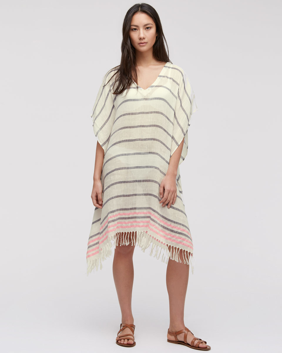 Linen Stripe Fringed Kaftan - neckline: v-neck; sleeve style: dolman/batwing; fit: loose; pattern: horizontal stripes; style: kaftan; predominant colour: ivory/cream; length: on the knee; fibres: linen - 100%; sleeve length: half sleeve; texture group: linen; occasions: holiday; pattern type: fabric; season: s/s 2016; wardrobe: holiday; embellishment location: hip