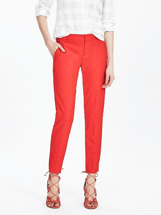 Avery Fit Red Lightweight Wool Crop Red - pattern: plain; waist: mid/regular rise; predominant colour: true red; occasions: casual, creative work; length: ankle length; fibres: wool - stretch; texture group: cotton feel fabrics; fit: slim leg; pattern type: fabric; style: standard; season: s/s 2016; wardrobe: highlight