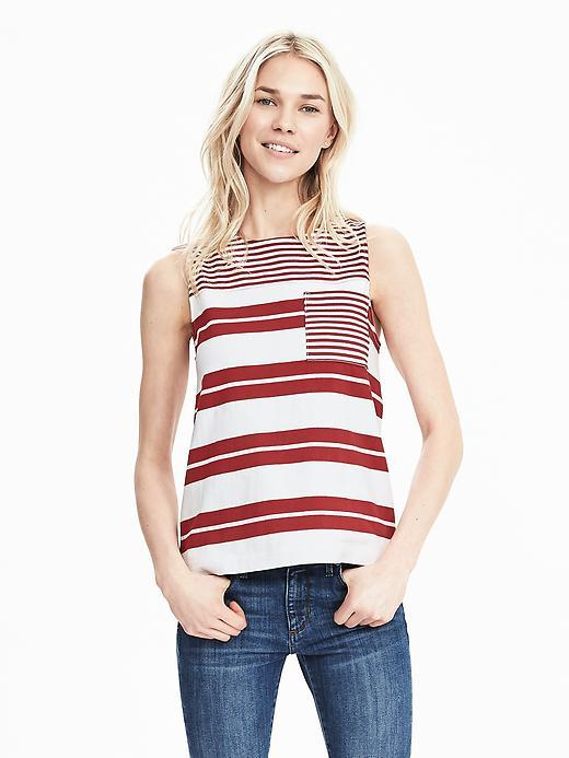 Variegated Stripe Pocket Tank White - neckline: round neck; sleeve style: sleeveless; bust detail: subtle bust detail; secondary colour: white; predominant colour: true red; occasions: casual, creative work; length: standard; style: top; fibres: cotton - 100%; fit: body skimming; sleeve length: sleeveless; texture group: cotton feel fabrics; pattern type: fabric; pattern: patterned/print; pattern size: big & busy (top); season: s/s 2016; wardrobe: highlight