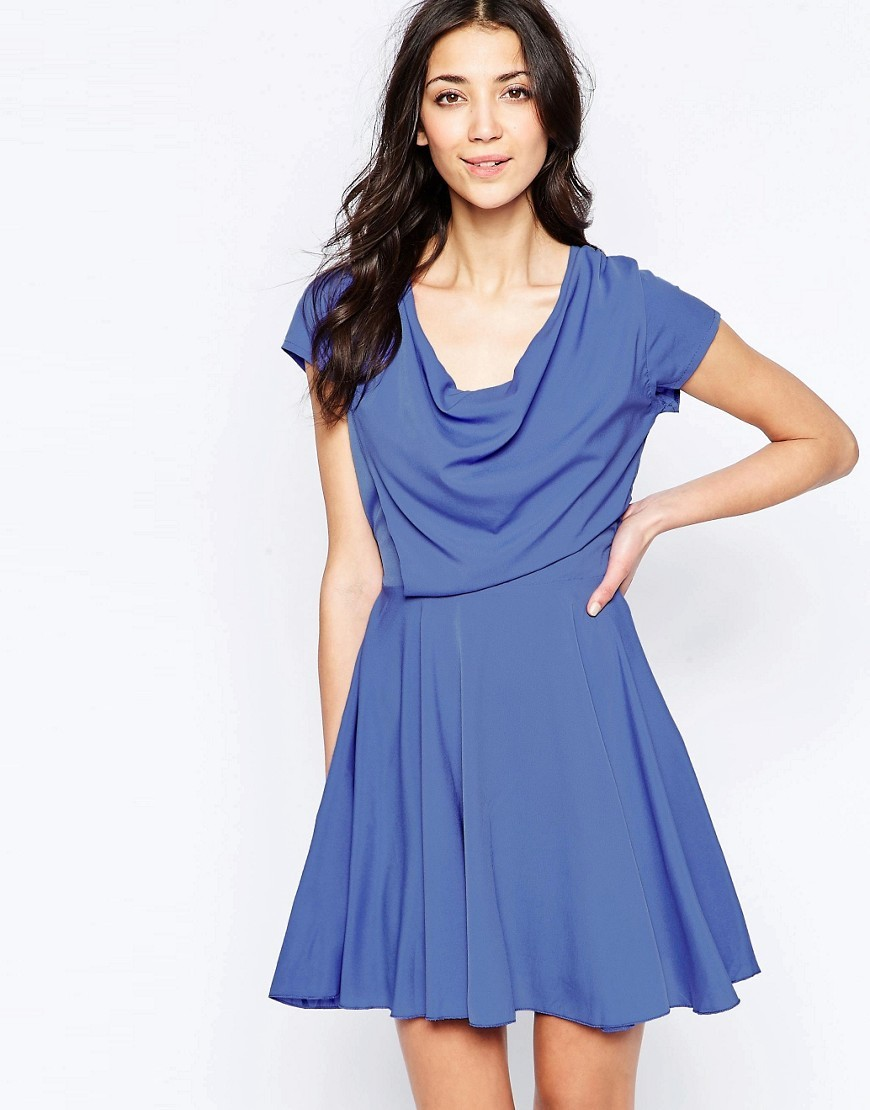 Skater Dress With Drape Top Lilac - length: mid thigh; neckline: cowl/draped neck; sleeve style: capped; pattern: plain; bust detail: subtle bust detail; predominant colour: denim; fit: fitted at waist & bust; style: fit & flare; fibres: polyester/polyamide - 100%; occasions: occasion; hip detail: subtle/flattering hip detail; sleeve length: short sleeve; texture group: crepes; pattern type: fabric; season: s/s 2016; wardrobe: event