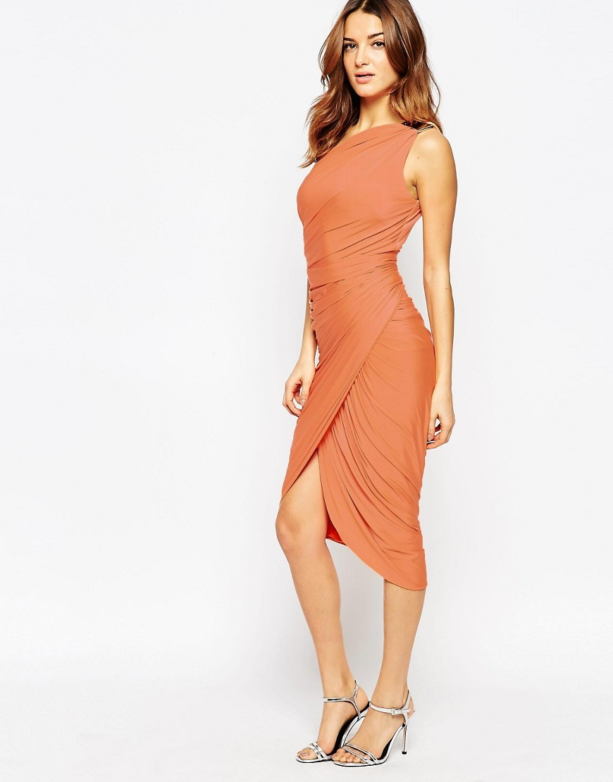Kayden Draped One Shoulder Dress Orange - style: shift; length: below the knee; pattern: plain; sleeve style: sleeveless; neckline: asymmetric; hip detail: draws attention to hips; bust detail: subtle bust detail; predominant colour: bright orange; occasions: evening, occasion; fit: body skimming; fibres: polyester/polyamide - stretch; shoulder detail: subtle shoulder detail; sleeve length: sleeveless; texture group: jersey - clingy; pattern type: fabric; season: s/s 2016; wardrobe: event