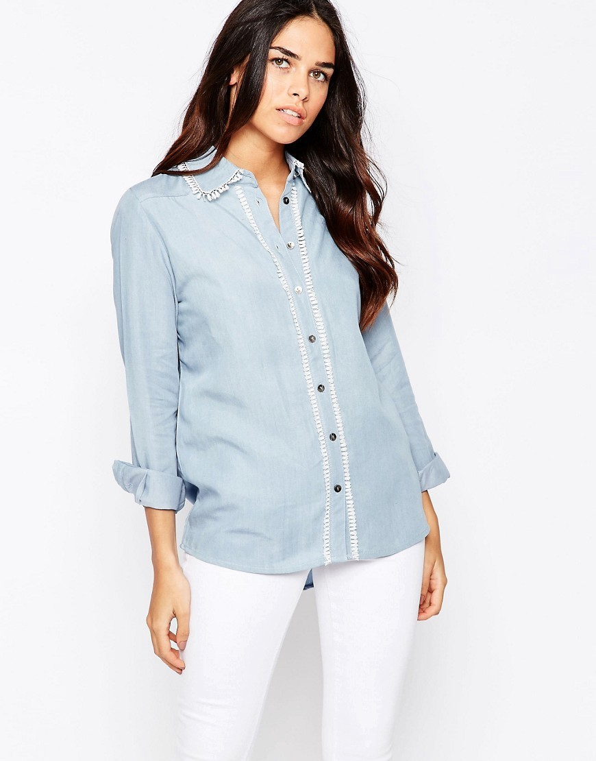 Lay It Down Denim Shirt With Trim Blue - neckline: shirt collar/peter pan/zip with opening; pattern: plain; length: below the bottom; style: shirt; predominant colour: pale blue; occasions: casual, creative work; fibres: viscose/rayon - 100%; fit: body skimming; sleeve length: long sleeve; sleeve style: standard; texture group: denim; pattern type: fabric; season: s/s 2016; wardrobe: basic