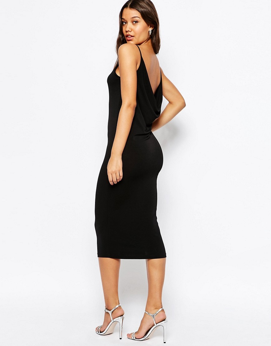 Crepe Cowl Back 90's Cami Midi Dress Black - length: below the knee; neckline: high square neck; sleeve style: spaghetti straps; fit: tight; pattern: plain; style: bodycon; back detail: back revealing; hip detail: draws attention to hips; predominant colour: black; occasions: evening; fibres: polyester/polyamide - stretch; sleeve length: sleeveless; texture group: jersey - clingy; pattern type: fabric; season: s/s 2016; wardrobe: event