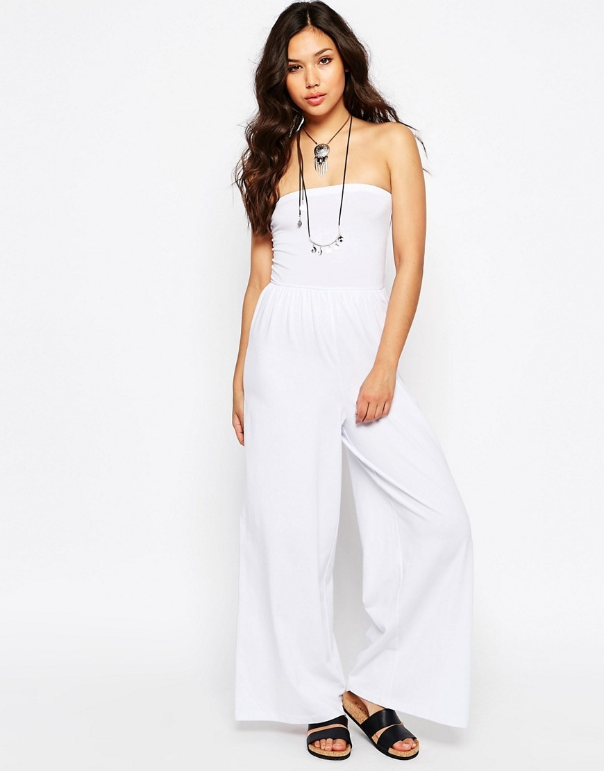 Bandeau Jersey Jumpsuit With Wide Leg White - length: standard; neckline: strapless (straight/sweetheart); pattern: plain; sleeve style: sleeveless; predominant colour: white; occasions: casual; fit: body skimming; fibres: cotton - stretch; sleeve length: sleeveless; texture group: cotton feel fabrics; style: jumpsuit; pattern type: fabric; season: s/s 2016; wardrobe: highlight